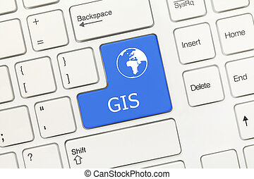 White conceptual keyboard - GIS (blue key) - Close-up view...