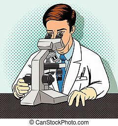 Medical scientist with microscope vector
