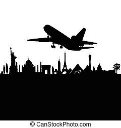 airplane above the city black travel vector silhouette