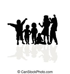kids happy vector silhouette