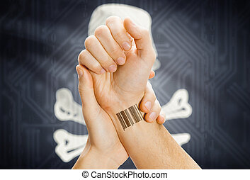 Barcode ID on hand and Jolly Roger flag on background -...