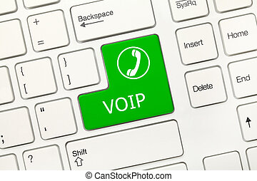 White conceptual keyboard - VOIP (green key) - Close-up view...
