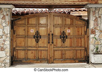 Modern Wooden Gate In Old Style