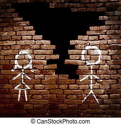 Couple divorce - Man and woman stick figures on broken brick...