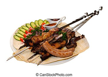 grilled meat with vegetables - grilled meat kebab sausages...