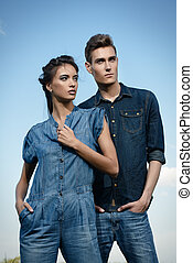 trendy denim - Portrait of a modern young people wearing...