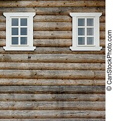 Log Cabin Wall With Two Ornamental Windows - Unpainted Log...