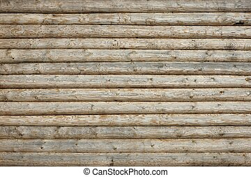 Wooden Log Cabin Old Wall Natural Colored Horizontal...