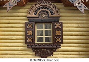 Yellow Log Cabin Wall With One Ornamental Window, Wooden...