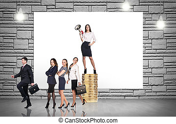 Group of business people. Businessman with megaphone stands...