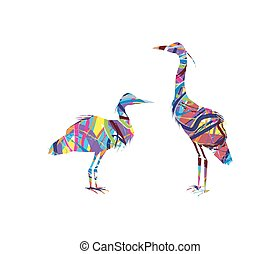 silhouette of herons - abstract silhouette of herons on...