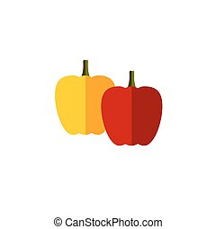 sweet pepper color vector flat icon vegetable on white...
