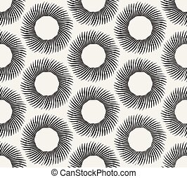 Vector Seamless Black and White Geometric Hand Drawn Circle...
