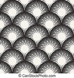 Vector Seamless Black and White Optical Art ZigZag Rays...