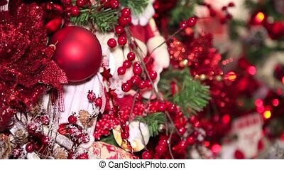 Christmas hands decorations on tree