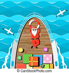 Santa Claus on a yacht. - Santa Claus carries gifts lying on...