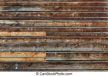 Weathered Old Natural Wood Siding Panel With Hanwritten...