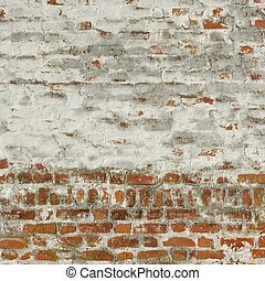Red White Retro Brick Painted Wall With Damaged Plaster...