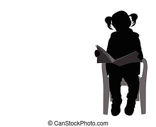 wenig, Buch, lesende, m�dchen