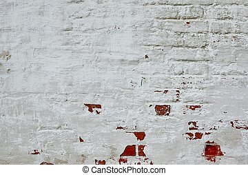 Retro Uneven Brick Wall With White Painted Plaster Background