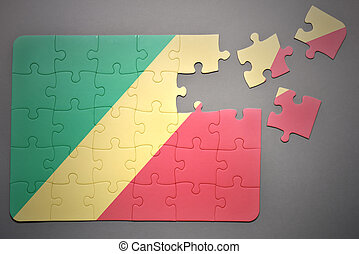 puzzle with the national flag of congo - broken puzzle with...
