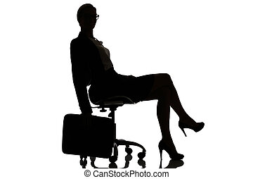 silhouette of a busy business woman backlight studio on...
