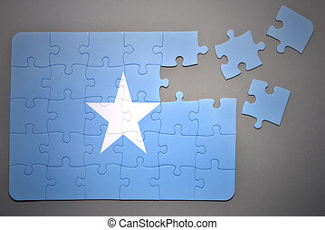 puzzle with the national flag of somalia - broken puzzle...