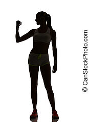 one woman exercising fitness workout lunges crouching weight training in silhouette