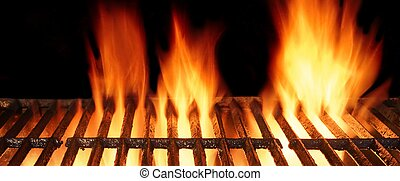 Empty BBQ Cast Iron Hot Grill With Burning Charcoal Fire