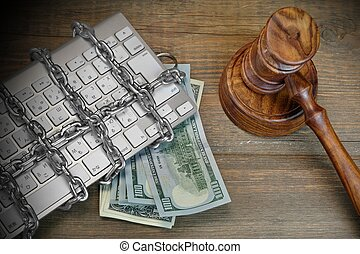 Cyber Crime Concept, Judges Gavel, Keyboard, Chain On The...