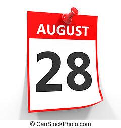 28 august calendar sheet with red pin. - 28 august calendar...
