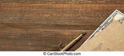 Wood Empty Background With Notebook, Money And Golden Pen -...