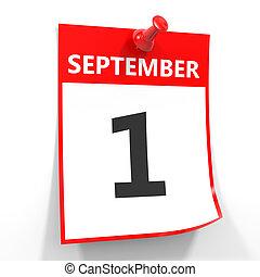 1 september calendar sheet with red pin. - 1 september...