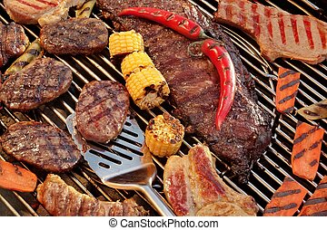 Assorted Grilled Meat With Vegetable On The Hot BBQ Grill,...