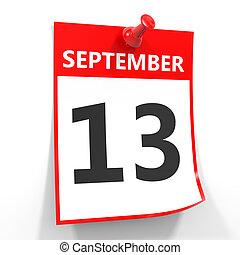 13 september calendar sheet with red pin. - 13 september...