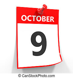 9 october calendar sheet with red pin. - 9 october calendar...