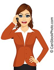 angry businesswoman talking on mobile phone