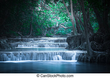 Erawan waterfall. Thailand - Jangle landscape with flowing...