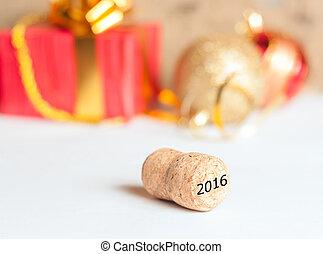 regalos, nuevo, año, champaña, corcho