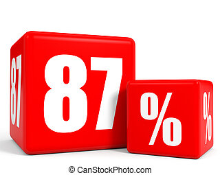 Red sale cubes. Eighty seven percent discount. 3D...