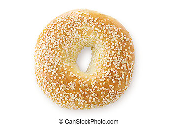Sesame Seed Bagel, Viewed From Above - A close up of a...