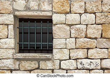 Old White Stonewall With Lattice Window Detail Background -...