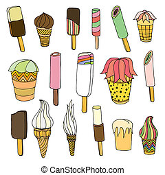 Set of ice cream - Collection of cute Art hand drawn cartoon...