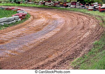 Empty Buggy Or Karting Track Fragment - Empty Off Road Buggy...