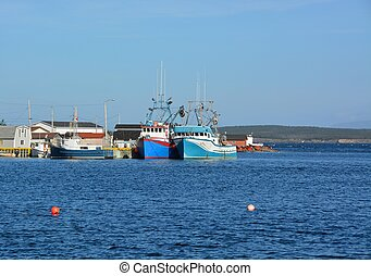 Frenchmans Cove - group of fishing vessels anchored at the...