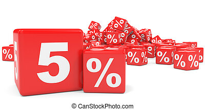 Red sale cubes. Five percent discount. 3D illustration.