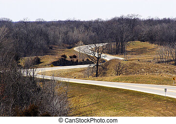 Farm roads from air - Aerial view of road junction in Iowa