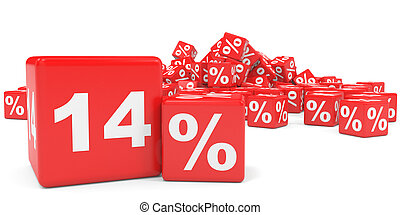 Red sale cubes. Fourteen percent discount. 3D illustration.