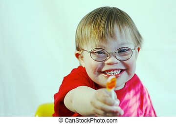 Boy with Downs Syndrome - Little Boy with Downs Syndrome...