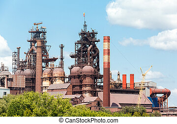 blast furnace at the steel industry